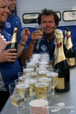 Carlin celebrating