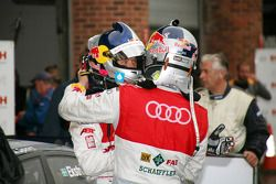 Race winner Martin Tomczyk, Audi Sport Team Phoenix, Audi A4 DTM with second place Mattias Ekström,