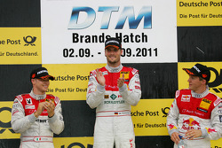 Podium: race winner Martin Tomczyk, Audi Sport Team Phoenix, Audi A4 DTM, second place Mattias Ekström, Audi Sport Team Abt Sportsline, Audi A4 DTM, third place Edoardo Mortara, Audi Sport Team Rosberg Audi A4 DTM