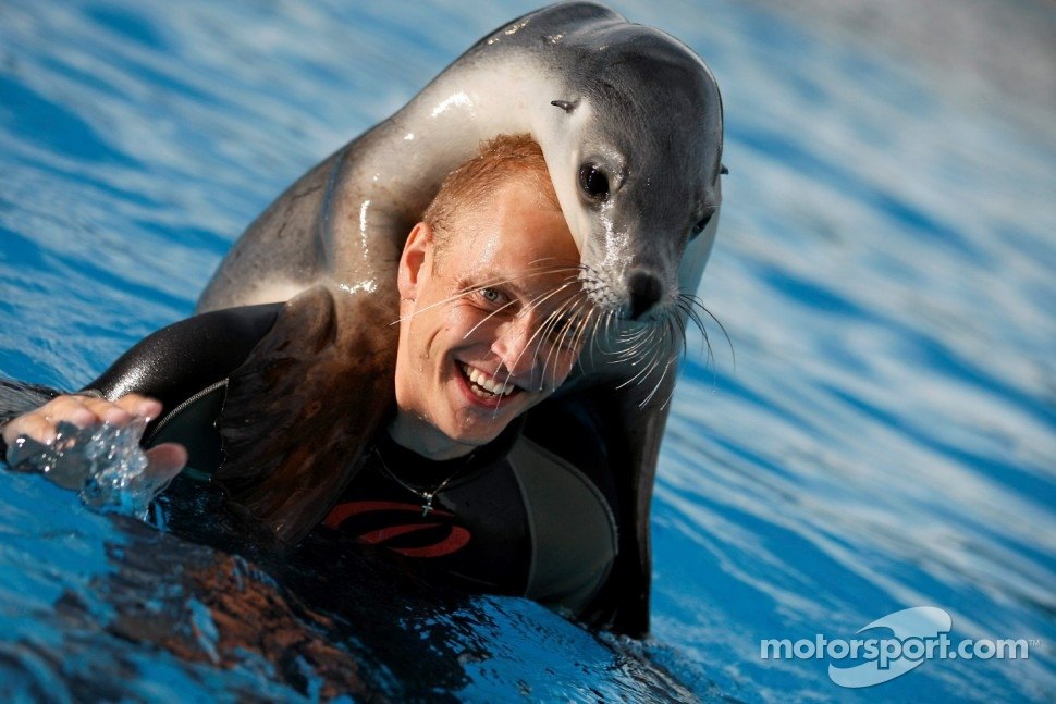 Mikko Hirvonen enjoys the marine life in Coffs Harbour