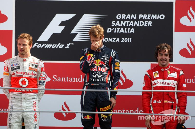 2011: 1. Себастьян Феттель, 2. Дженсон Баттон, 3. Фернандо Алонсо