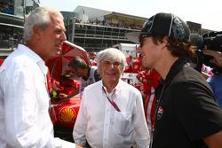 Marco Tronchetti, Pirelli with Bernie Ecclestone and Nicky Hayden, MotoGP rider