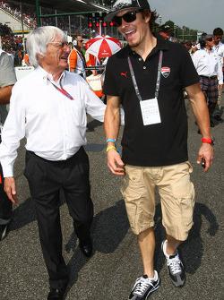 Bernie Ecclestone with Nicky Hayden, MotoGP rider