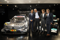 The new 2012 DTM AMG Mercedes C-Coupé with Michael Schumacher, Dr. Dieter Zetsche (Chairman of Mercedes-Benz Cars), Nico Rosberg and Norbert Haug
