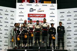 LMP2 Podium: 1st place: #41 Greaves Motorsport Zytek Z11SN - Nissan: Karim Ojjeh, Tom Kimber-Smith, Olivier Lombard, 2nd place: #40 Race Performance Oreca 03 - Judd: Michel Frey, Ralph Meichtry, Marc Rostan , 3rd place: #45 Boutsen Energy Racing Oreca 03-