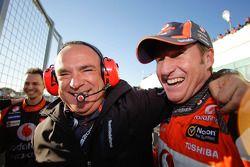 Race winner Mark Skaife celebrates