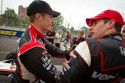 Pole winner Will Power, Team Penske congratulated by Ryan Briscoe, Team Penske