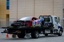 #66 Ferrari of Ft. Lauderdale Ferrari 458 Challenge: Maurizio Scala taken back to the shop after a heavy crash