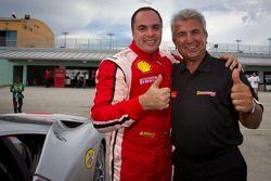 Race winner #777 Ferrari of Québec Ferrari 458 Challenge: Emmanuel Anassis celebrates