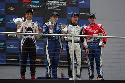 Podium from left: Kotaro Sakurai, Carlos Huertas, Rupert Svendsen-Cook and Jack Harvey