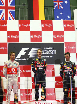 Podium: race winner Sebastian Vettel, Red Bull Racing, second place Jenson Button, McLaren Mercedes,