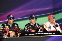 Press conference: race winner Sebastian Vettel, Red Bull Racing, second place Jenson Button, McLaren