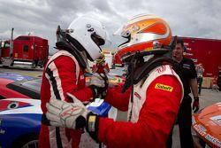 Race winner #22 Ferrari of Ft. Lauderdale Ferrari 458 Challenge: Enzo Potolicchio celebrates with #7