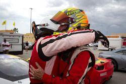 Race winner #22 Ferrari of Ft. Lauderdale Ferrari 458 Challenge: Enzo Potolicchio celebrate with #27