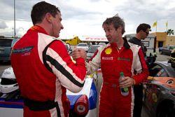 Race winner #22 Ferrari of Ft. Lauderdale Ferrari 458 Challenge: Enzo Potolicchio celebrate with #27 Ferrari of Houston Ferrari 458 Challenge: Mark McKenzie