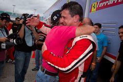 Race winner #22 Ferrari of Ft. Lauderdale Ferrari 458 Challenge: Enzo Potolicchio celebrate with #66