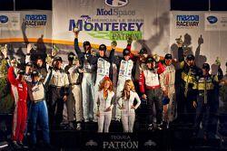 Class winners podium: LMP1 winners Adrian Fernandez, Harold Primat, Stefan Mücke, LMP2 winners Scott Tucker, Christophe Bouchut, Luis Diaz, LMPC winners Eric Lux, Elton Julian, Michael Guasch, GT winners Jörg Bergmeister, Patrick Long, GTC winners Dunca