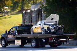 Schade aan de #11 JDX Racing Porsche 911 GT3 Cup: Will Langhorne, Al Carter, Hugh Plumb