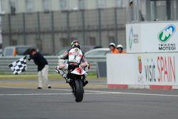 Jorge Lorenzo celebrates second place