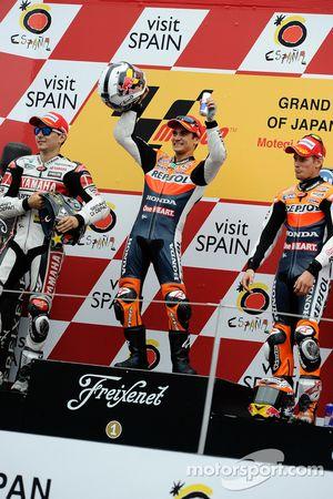 Podium: race winner Dani Pedrosa, second place Jorge Lorenzo, third place Casey Stoner
