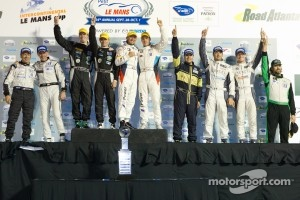 ALMS championship podium: P2 champions Scott Tucker and Christophe Bouchut, P1 champions Chris Dyson and Guy Smith, GT champions Dirk Müller and Joey Hand, PC champions Eric Lux, Ricardo Gonzalez and Gunnar Jeannette, GTC champion Tim Pappas