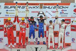 GT300 class podium: race winners Tetsuya Yamano, Kota Sasaki, second place Ryo Orime, Tsubasa Abe th