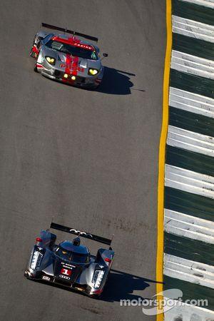 #1 Audi Sport Team Joest Audi R18: Timo Bernhard, Marcel Fässler, Romain Dumas, #40 Robertson Racing Doran Ford GT: Andrea Robertson, Melanie Snow, David Murry