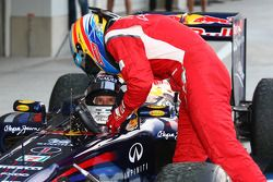 Sebastian Vettel, Red Bull Racing new world champion and Fernando Alonso, Scuderia Ferrari