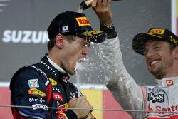 Sebastian Vettel, Red Bull Racing und Jenson Button, McLaren Mercedes
