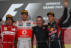 Fernando Alonso, Scuderia Ferrari with Jenson Button, McLaren Mercedes and new world champion Sebast