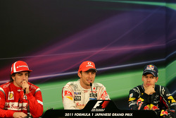 Fernando Alonso, Scuderia Ferrari, Sebastian Vettel, Red Bull Racing and Jenson Button, McLaren Merc