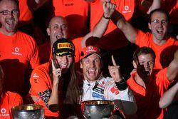 Jenson Button, McLaren Mercedes and Jessica Michibata girlfriend of Jenson Button