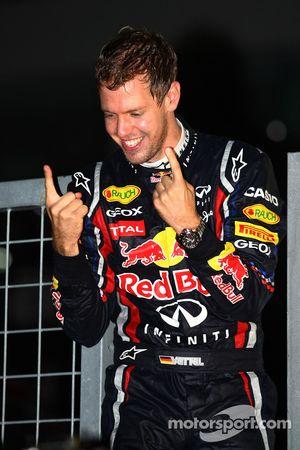Sebastian Vettel, Red Bull Racing new world champion celebrates with the team