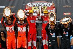 Podium: race winners Garth Tander and Nick Percat, second place Craig Lowndes, Mark Skaife, third place, Greg Murphy, Allan Simonsen