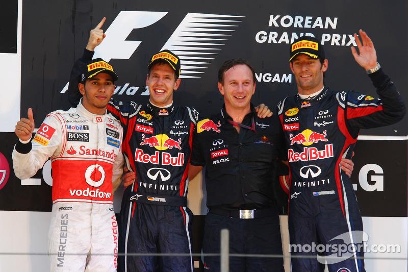 Podium: race winner Sebastian Vettel, Red Bull Racing, second place Lewis Hamilton, McLaren Mercedes, third place Mark Webber, Red Bull Racing, Christian Horner, Red Bull Racing, Sporting Director