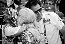 2011 Indy 500 race winner Dan Wheldon, Bryan Herta Autosport with Curb / Agajanian celebrates with h