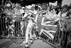 2011 Indy 500 race winner Dan Wheldon, Bryan Herta Autosport with Curb / Agajanian celebrates with e