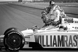 2011 Indy 500 race winner Dan Wheldon, Bryan Herta Autosport with Curb / Agajanian celebrates during the Monday photoshoot