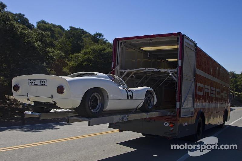 Example Of Classic Porsche Race Car Transporter In Use At Porsche