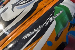Michele Alboreto's name on the Flying Lizard's Le Mans Tribute car listing all drivers to have won the 24 hour race in a Porsche