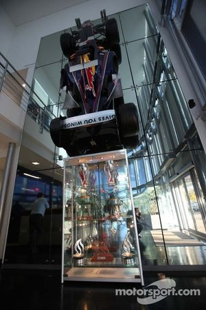 2011 champion Sebastian Vettel returns to Red Bull headquarters