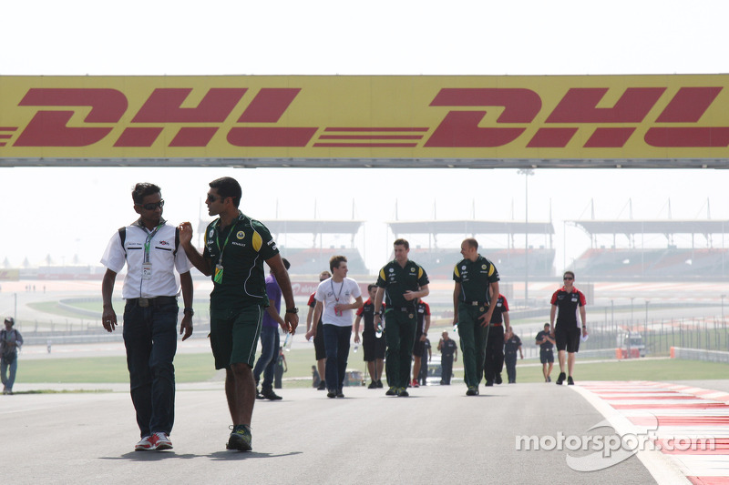 Christian Klien, test driver, HRT Formula One Team walks the track