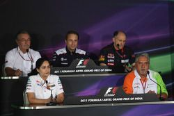 Jean-Francois Caubet, Managing director of Renault F1 with Alan Parr, Williams F1, Franz Tost, Scuderia Toro Rosso, Team Principal, Monisha Kaltenborn, Managing director, Sauber F1 Team and Vijay Mallya, Force India F1 Team Owner