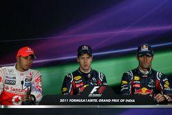Lewis Hamilton, McLaren Mercedes, Sebastian Vettel, Red Bull Racing and Mark Webber, Red Bull Racing