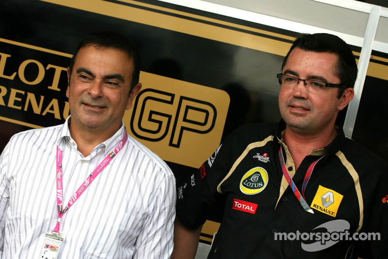 Carlos Ghosn, CEO Renault-Nissan and Eric Boullier, Team Principal, Lotus Renault GP