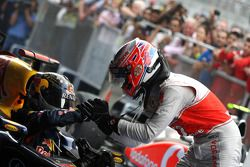 Sebastian Vettel, Red Bull Racing en Jenson Button, McLaren Mercedes