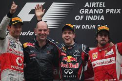 Podium: second place Jenson Button, McLaren Mercedes with Adrian Newey, Red Bull Racing, Technical Operations Director, race winner and Sebastian Vettel, Red Bull Racing and third place Fernando Alonso, Scuderia Ferrari