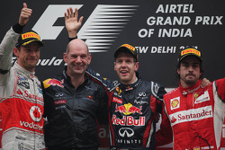 Podium: second place Jenson Button, McLaren Mercedes with Adrian Newey, Red Bull Racing, Technical O