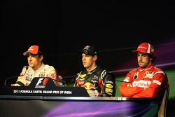 2de, Jenson Button, McLaren Mercedes, winnaar Sebastian Vettel, Red Bull Racing, 3de Fernando Alonso