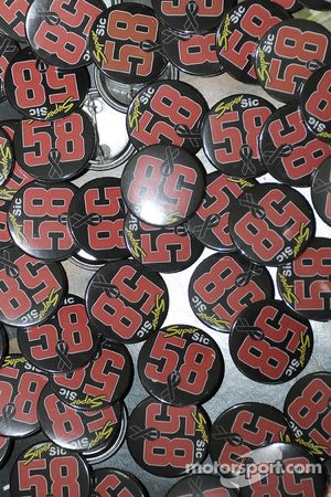 Marco Simoncelli badges in the media centre